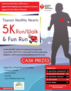 Towson Healthy Hearts 5K Run/Walk & Fun Run @ Knollwood Community   Towson   Maryland   United States