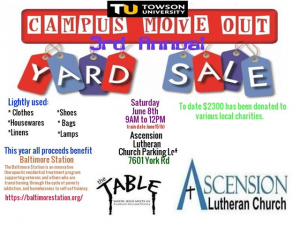 3rd Annual Campus Move-Out Yard Sale @ Ascension Lutheran Parking Lot | Towson | Maryland | United States